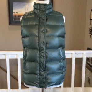 J. Crew shiny green down puffer vest Size XS